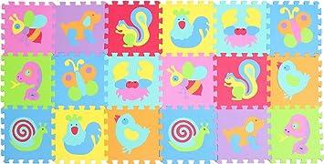 XMTMMD Suelo para Ninos Infantiles EVA Puzzle ColchonetaPara Ninos Y Infantiles EVA Puzzle Colchonetas Puzzle Rompecabezas para Cubrir el Suelo 18 ...