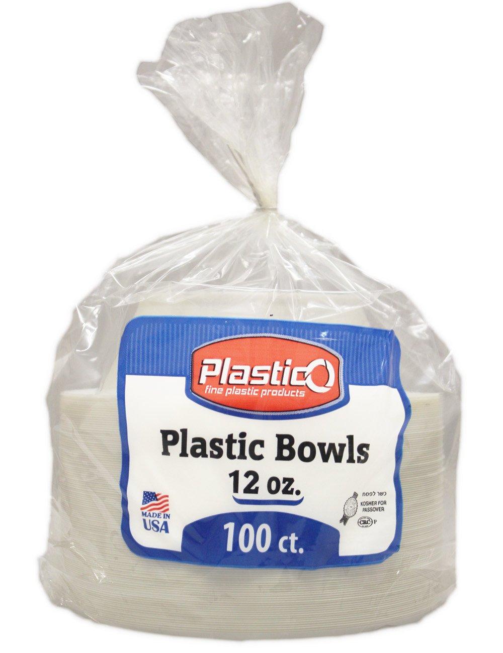 100 X White Plastic 12oz Disposable Bowls by Plastico