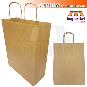 Marrón trenzado mango bolsas de papel | pequeñas, medianas ...