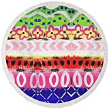 Pixels Round Beach Towel With Tassels featuring ''Southwest Jubilee- Art By Linda Woods'' by Linda Woods
