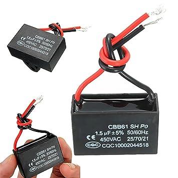 Winwill® 2 x 450V 1.5uF CBB61 Terminal Ventilador de techo Motor Corriente rectángulo condensador