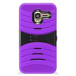 Alcatel TRU Case, IECUMIE WAVE Armor Skin Protective Cover Case with Stand for Alcatel TRU - Purple (Package includes a Stylus Pen)