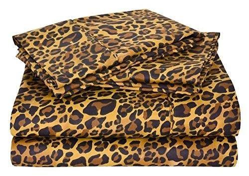 600 Thread Count Luxurious 100% Egyptian Cotton Set of 4 Pcs (1 Fitted sheet,1 Flat Sheet, 2 Pillows covers) by Rajlinen (Leopard Print, Short Queen 60