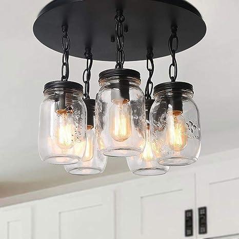 LNC A03221 Mason Jar Ceiling Lights Farmhouse Flush Mount Glass Pendant for  Kitchen