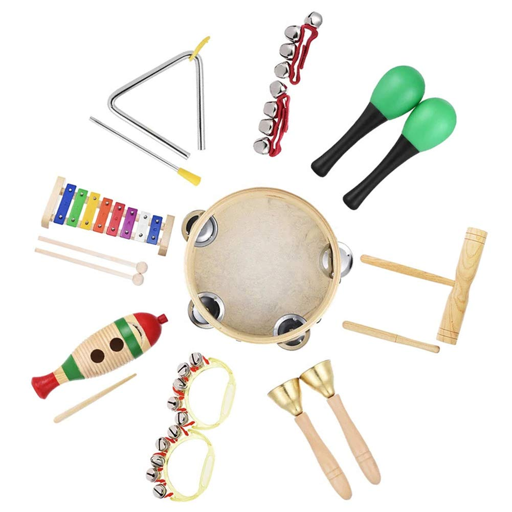 xxiaoTHAWxe Musical Instruments Toy, 9Pcs Kids Children Toddler Music Instruments Percussion Toys Band Rhythm Kit Set by THAWxe