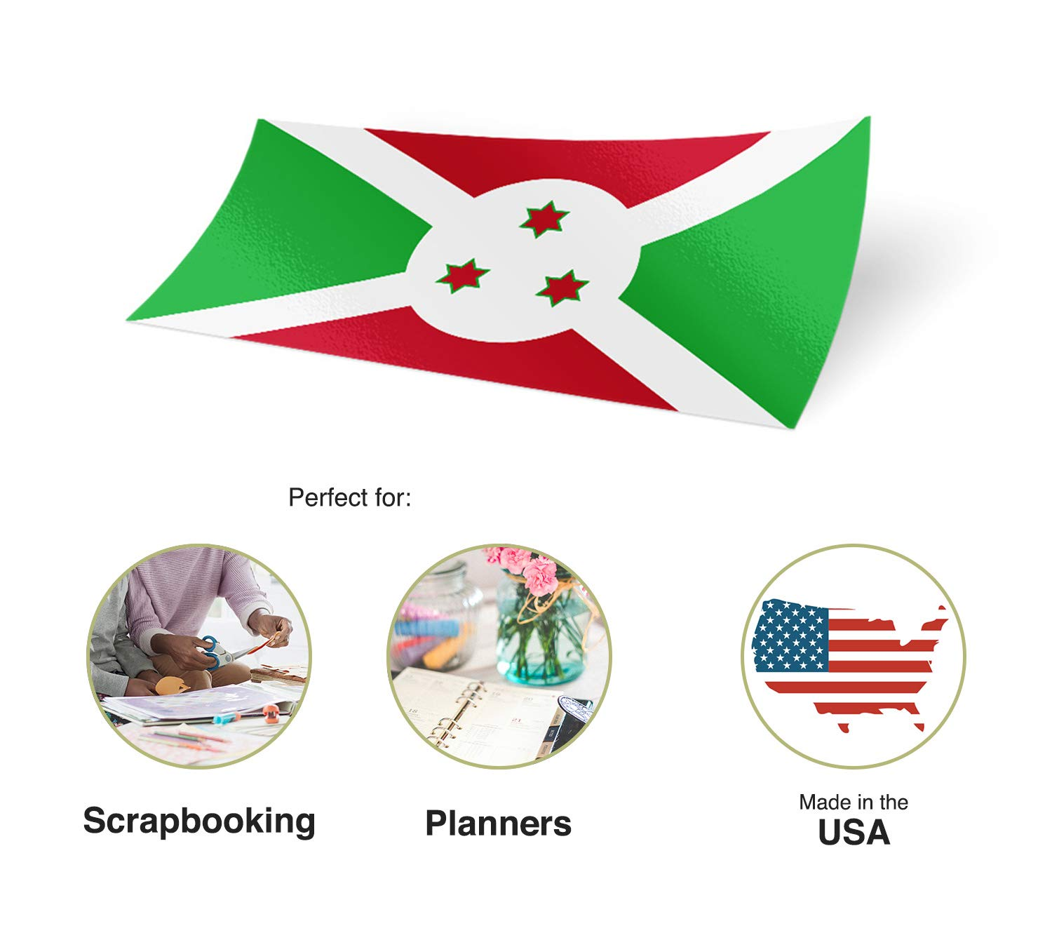 Desert Cactus Burundi Country Flag Sticker Decal Variety Size Pack 8 Total Pieces Kids Logo Scrapbook Car Vinyl Window Bumper Laptop V