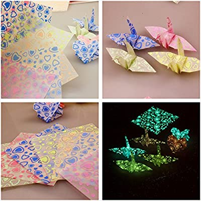New Paper Glows 2 Pack (20 sheets) Size;7X7cm(2.8X2.8 inches) Glow in Dark Origami Crane Heart Craft Paper set 15