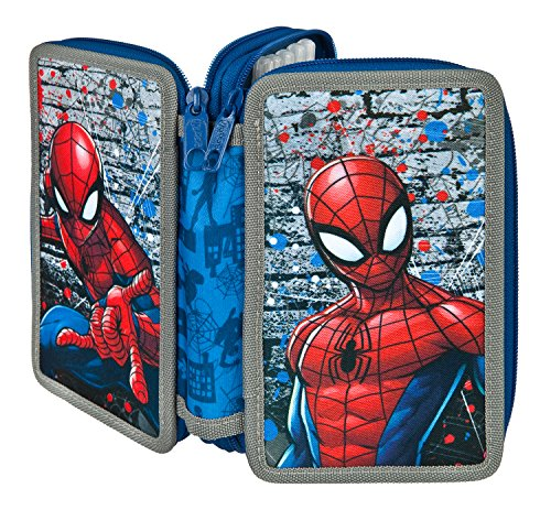 Scooli SPLO0433 Ja Double Decker Stabilo Brand Filled School Pencil Case – Marvel Spiderman -