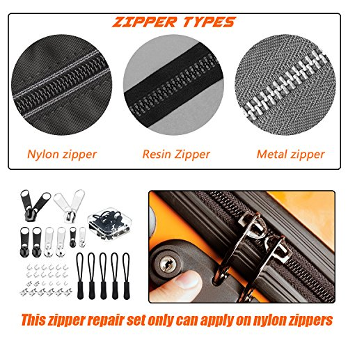 37 Pieces Universal Mixed Size Nylon Zipper Repair Kit Nylon Zipper Replacement Pack with Plastic Storage Box by WXJ13, Silver and Black