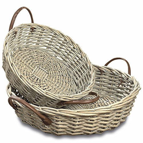 WHW Whole House Worlds Cape Cod Wicker Baskets, Set of 2, Round Circular Organizers, Faux Leather Side Handles, Storage and Display, Distressed White Willow, 14 and 17 Inches Diameter