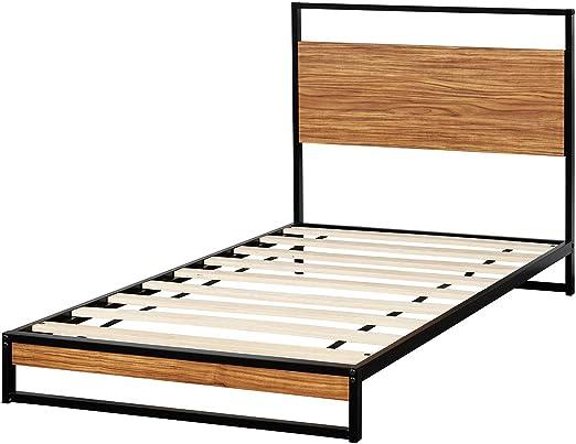 Giantex Marco de cama de metal negro, base de colchón de estilo ...