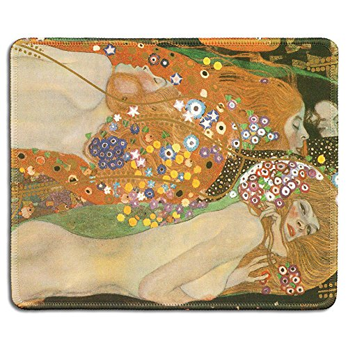 dealzEpic - Art Mousepad - Natural Rubber Mouse Pad with Famous Fine Art Painting of Water Serpents Ii Water Snakes by Gastav Klimt - Stitched Edges - 9.5x7.9 inches ()