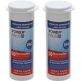 POWERHAUS24 100 Teststäbchen 3 in 1 Teststreifen 2er Pack Teststrips für Chlor, pH Wert und Algenschutz, für Pool und Whirlpool, 2 x 50 Stück