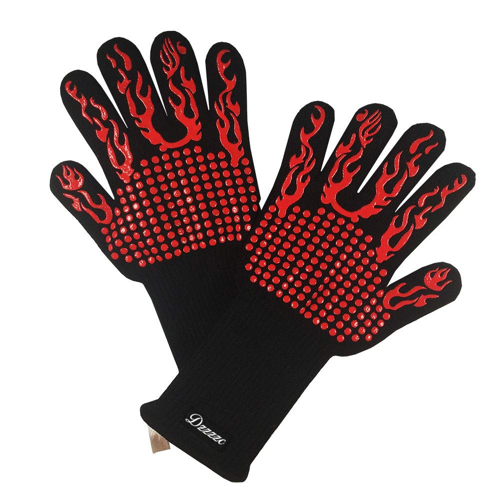 Dzzzzc BBQ1472°F Extreme HeatResistant Gloves EN407 Certified-Home/Kitchen/Outdoor Hand Protection Five Fingers Grill Microwave Oven Mitts for Cooking, Grilling, Baking,Barbecue XL