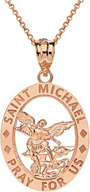 CaliRoseJewelry 14k Gold St Christopher Protect Us Round Charm Pendant