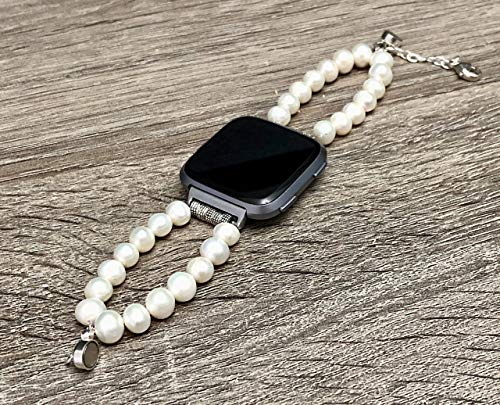 (Gorgeous Freshwater Pearls Bracelet For Fitbit Versa Smartwatch Handmade Natural Shape Beads Fitbit Versa Fitness Watch Band Unique Fashion Luxury Design Fitbit Watch Jewelry)