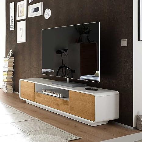 Tv Cabinet In White Oak Veneer 170 Cm Wide Pharao24 Amazon De Kuche Haushalt
