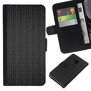 All Phone Most Case / Oferta Especial Cáscara Funda de cuero Monedero Cubierta de proteccion Caso / Wallet Case for HTC One M9 // Black hex pattern