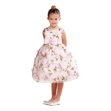 0ca7768c70a Crayon Kids Big Girls Pink Floral Print Bow Brooch Flower Girl Dress 7 8