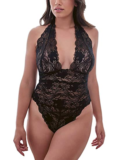 dcd07adbbc08 Evefancy Women Halter Plunge Teddy Lingerie, High-Cut Allover Scalloped  Lace Bodysuit Plus Size at Amazon Women's Clothing store: