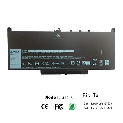ZWXJ Laptop Battery Type J60J5 (7 6V 55WH) for Dell Latitude E7270 E7470  Series WYWJ2 MC34Y 0MC34Y 1W2Y2 242WD 451-BBSY 451-BBSX dell j60j5 dell  242wd