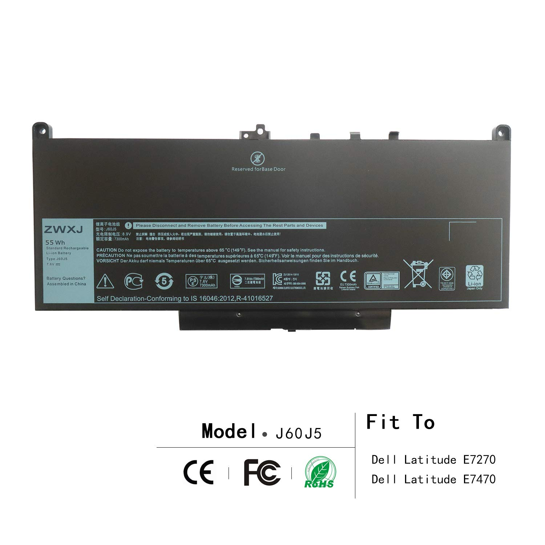 ZWXJ Laptop Battery Type J60J5 (7.6V 55WH) for Dell Latitude E7270 E7470 Series WYWJ2 MC34Y 0MC34Y 1W2Y2 242WD 451-BBSY 451-BBSX dell j60j5 dell 242wd Battery dell 451-bbsx by ZWXJ (Image #1)