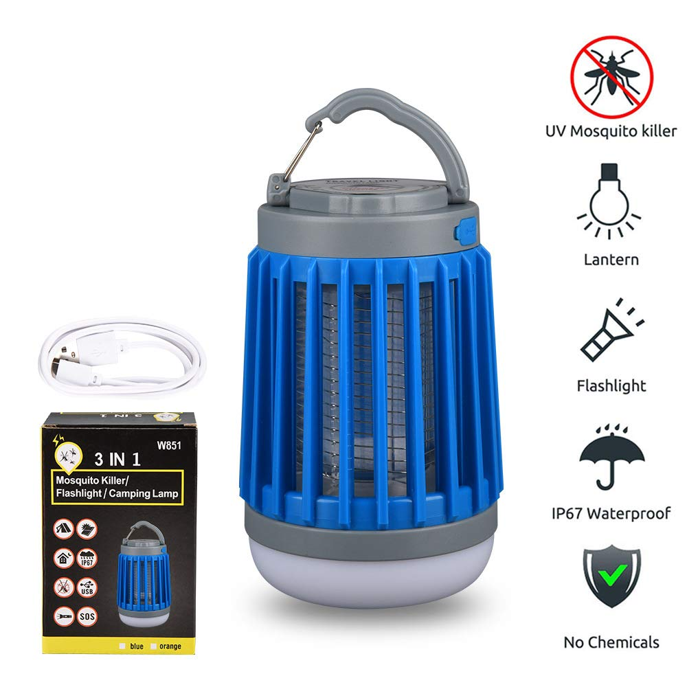 INQUIRY 3 in 1 Camping Lantern Bug Zapper Flashlight Portable IPX6 Waterproof Mosquito Killer LED Lamp with 2200mAh Rechargeable Battery USB Cable Retractable Hook