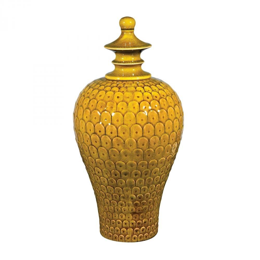 Medium Lidded Ceramic Jar In Chartruese Glaze