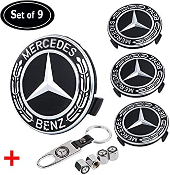 Mercedes Benz Wheel Center Cap Black Color Rim Hub Caps Emblem 4x pieces 75mm