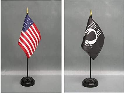 USA Armed Forces Military Pow Mia 6 Flags 4x6 Desk Set Table Stick Gold Base PREMIUM Vivid Color and UV Fade BEST Garden Outdor Decor Resistant Canvas Header and polyester material FLAG