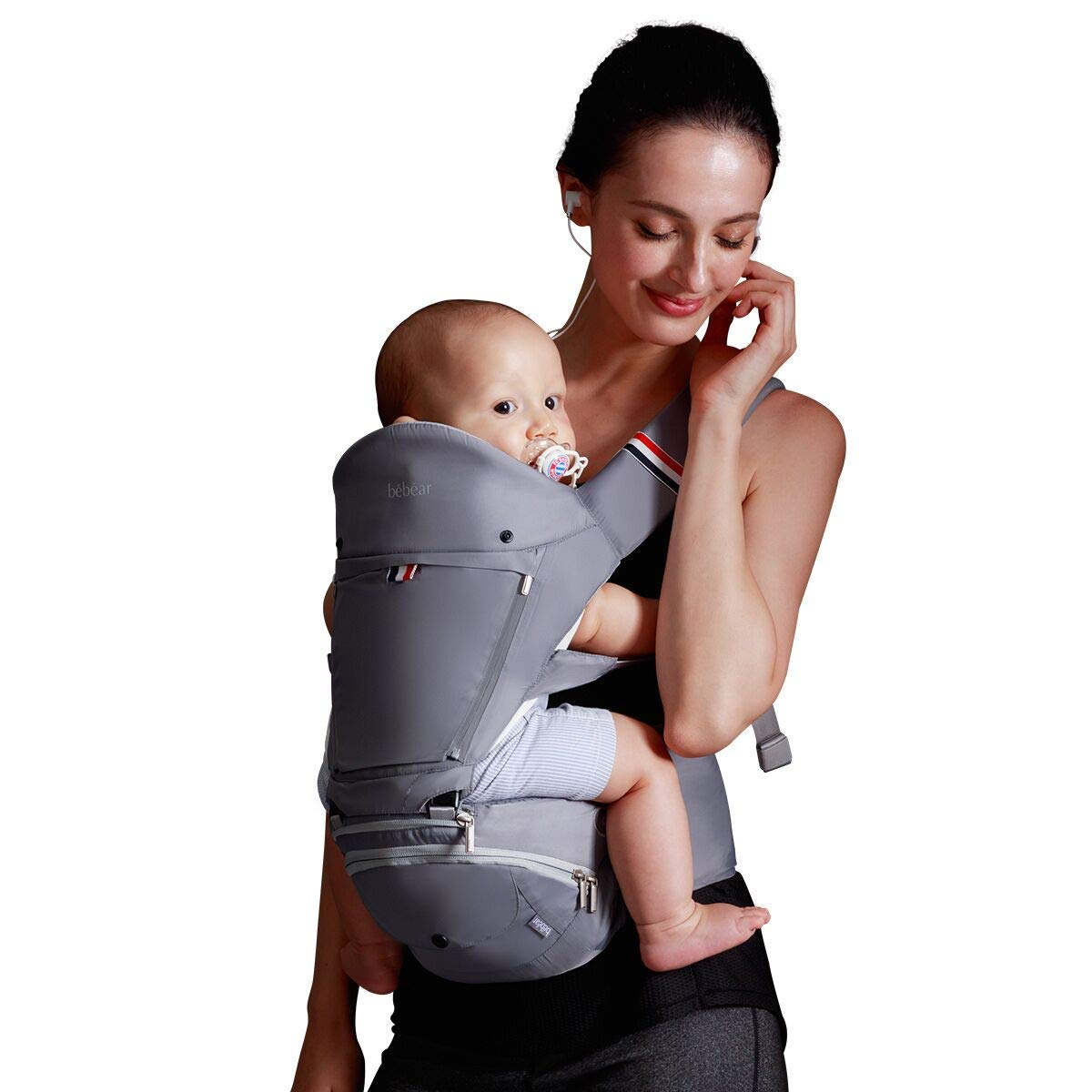 Bebamour Baby Carrier with Hip Seat 6 in 1 Ergonomic Baby Carrier Backpack Grey