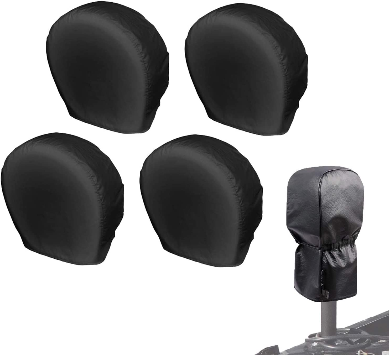 Universal fits Tire Diameter 26-28.75 inches, Black Explore Land Electric Tongue Jack Cover Bundle with Tire Covers 4 Pack