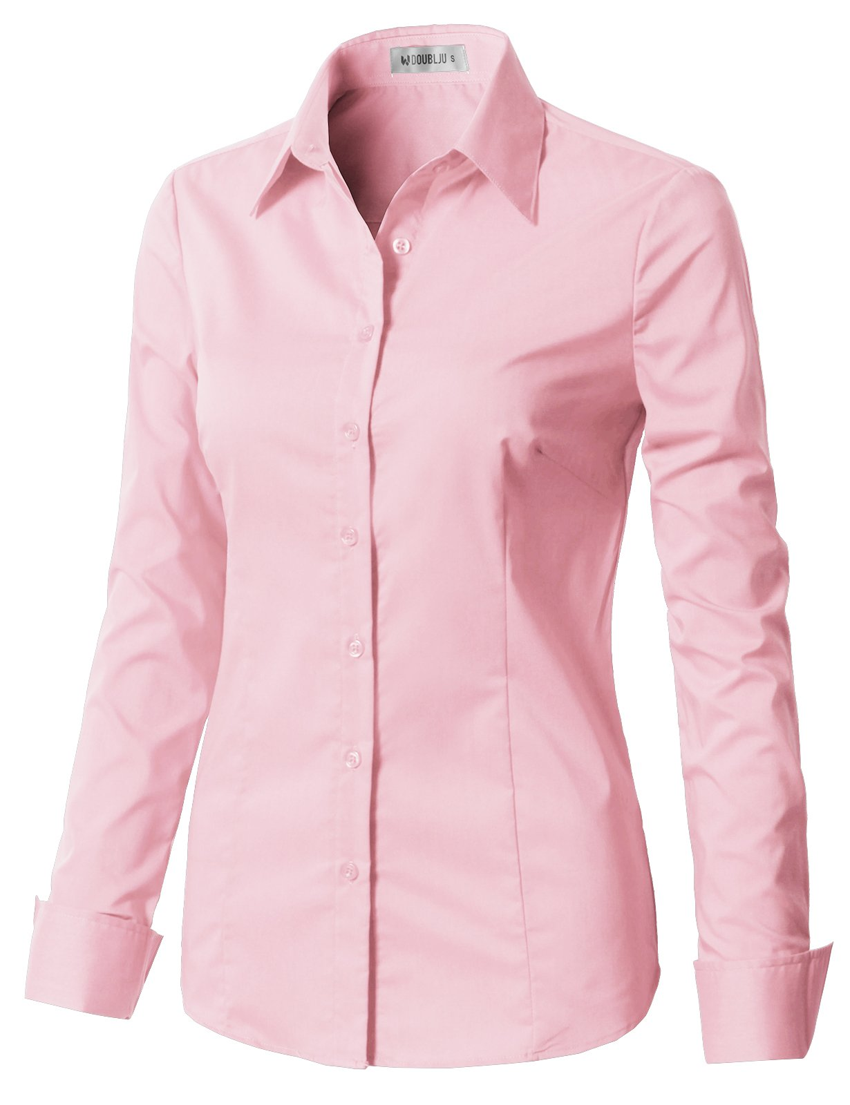 CLOVERY Women's Cotton Basic Button Down Shirt Long Sleeve Pleated Blouse with Plus Size Babypink XL
