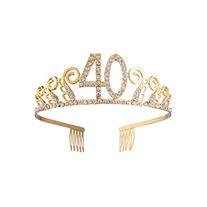 Beaupretty Tiara Cristal Cumpleaños 40 Años Corona Princesa ...