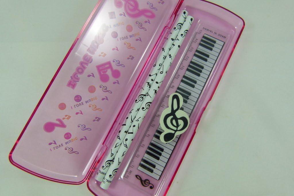15cm R/ègle Musique th/ème rose Trousses Ensemble de papeterie Gomme et 2 crayons