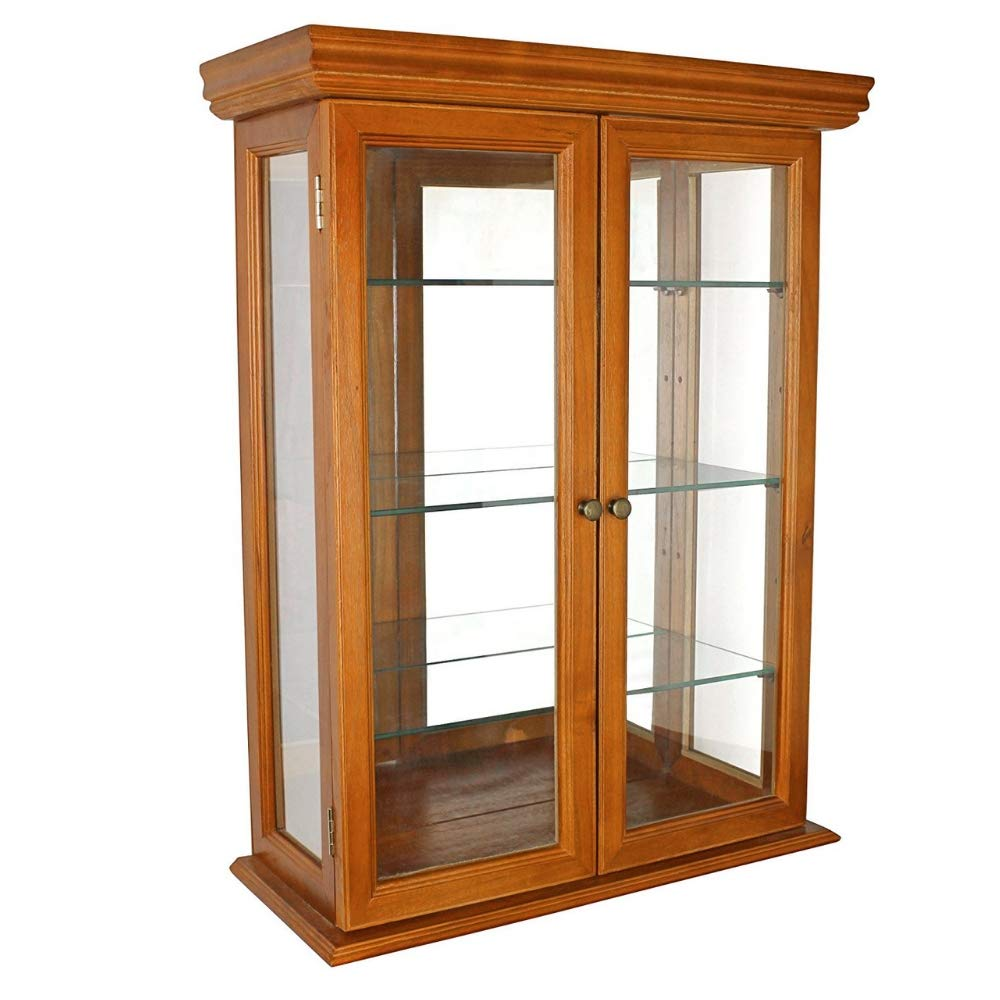 Rustic Display Case with Glass Doors Wooden Curio Cabinet Adjustable Storage Glass Shelves Collections Showcase Mirrored Back Versatile Attractive Accent Piece Furnture & eBook by BADA Shop BS