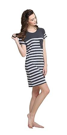 d0f6fa927 Moda Pijamas para Mujer Pijamas Mujer Primavera Verano Mujer Raya Camisones  Pijamas de Parejas Ropa de