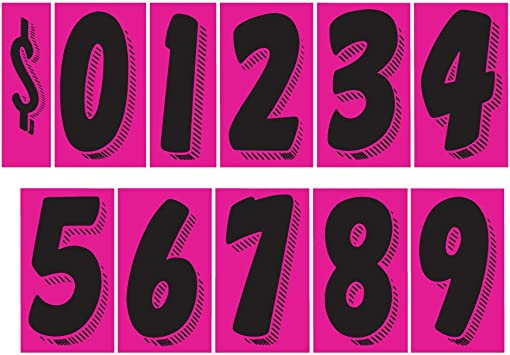 Number 1 EZ Line Vinyl Decals for Cars Chartreuse Large Number Stickers Windshield Pricing Number