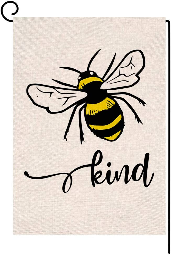 BLKWHT Bee Kind Spring Summer Garden Flag Vertical Double Sided Burlap Yard Outdoor Decor 12.5 x 18 Inches