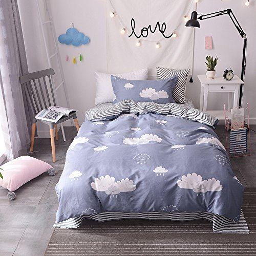 Bulutu Twin Quilt Bedding Sets Cotton Rain Cloud Print