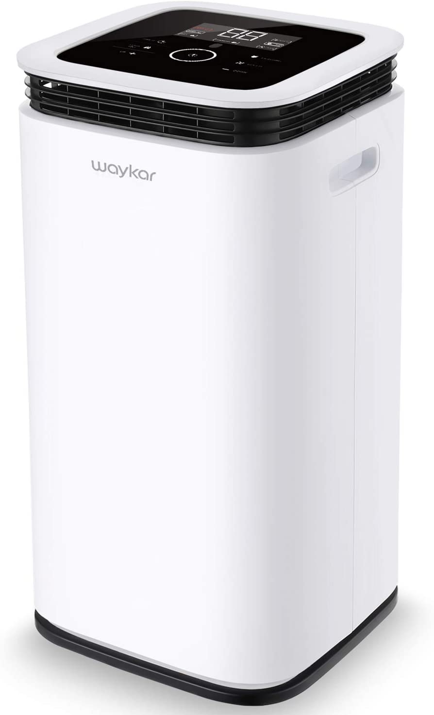 Waykar 70 Pint Dehumidifier for Home Basements Bedroom Garage, 9 Gallons/Day Working Capacity, Four Air Outlets, with 1.18 Gallon Water Tank, Continuous Drain Hose and Wheel Spaces up to 4500 Sq Ft