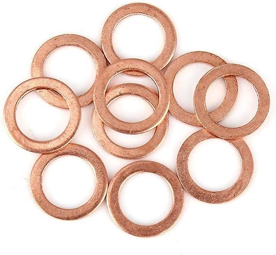 X Autohaux 10stk Kupferscheibe Flach Dichtung Kupfer Unterlegscheibe Ring Dichtring Flachdichtung Für Auto 14 X 20 X 1 5mm Auto