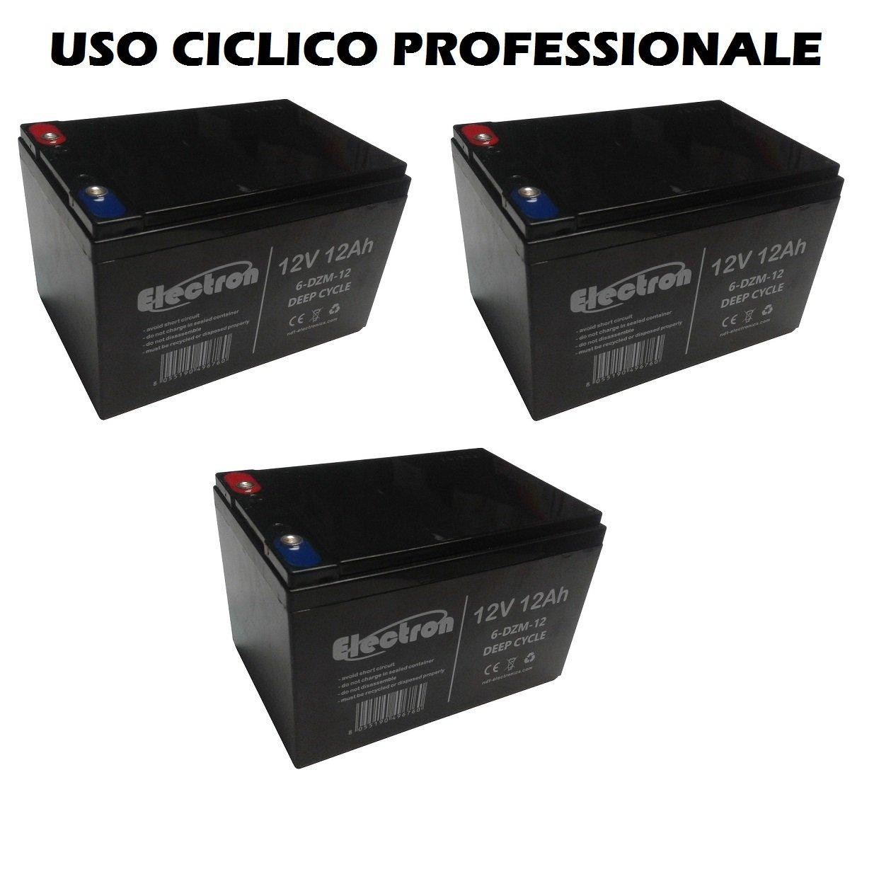 Kit 3 baterías de plomo recargable 12 V 36 V 12 Ah Ciclica batería Uso ciclico para bicicleta bicicletas eléctricas Patinetes Quad eléctricos tracción ...