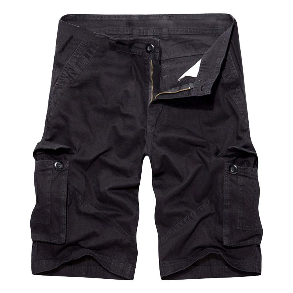 Hunauoo Mens Cargo Shorts Summer Pure Cotton Multi-Pocket Short Pant Loose Zipper Shorts