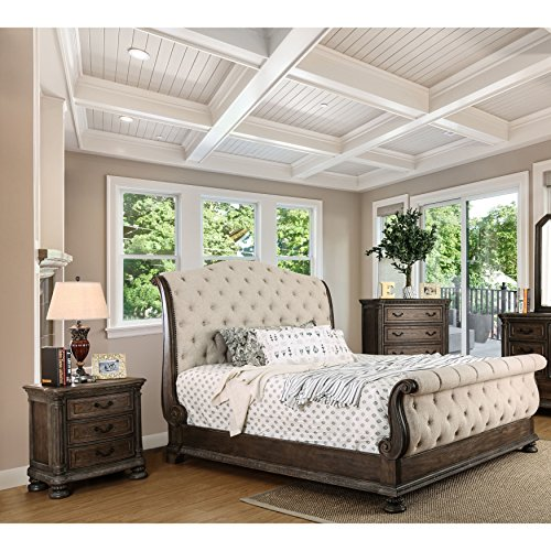 Furniture of America Brigette III Traditional 2-piece Ornate Rustic Sleigh Bed with Nightstand Set Queen 3 Piece Bedroom Sleigh Bed