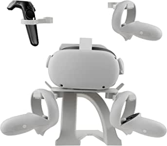 Esimen VR Stand for Oculus Quest 2/Quest/Oculus Rift S Controllers VR Gaming Headset Holder Display Mount Station (White)