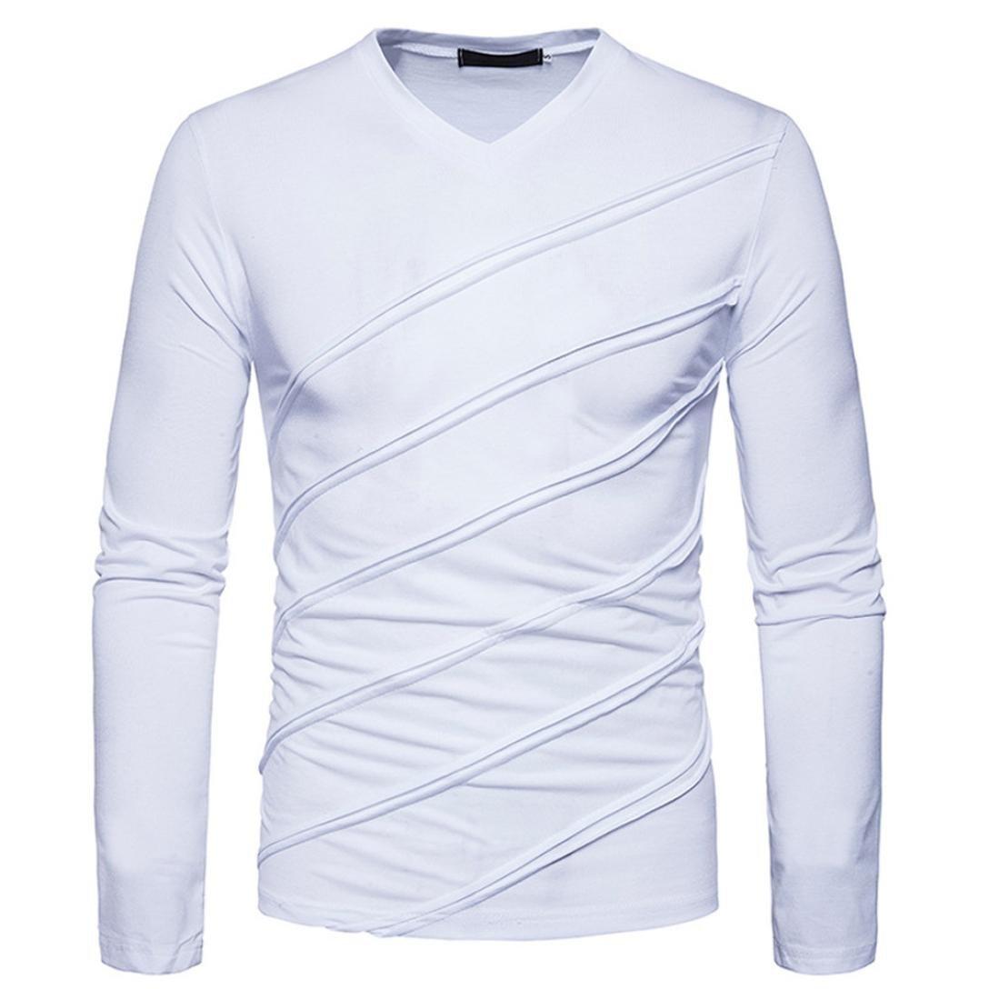 ❤️Automne hiver T-shirt manches longues Tops solides Chemisier ruché Fold, Amlaiworld Veste Homme Sweatshirt Blouson❤️