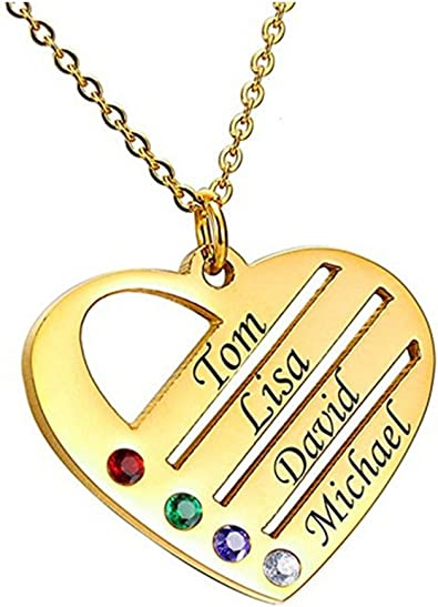Personalized Heart Pendant Necklace for Women Girl with 4 Simulated Birthstone 4 Names Engraved Grandma Jewelry Family Birthday Gifts for Women