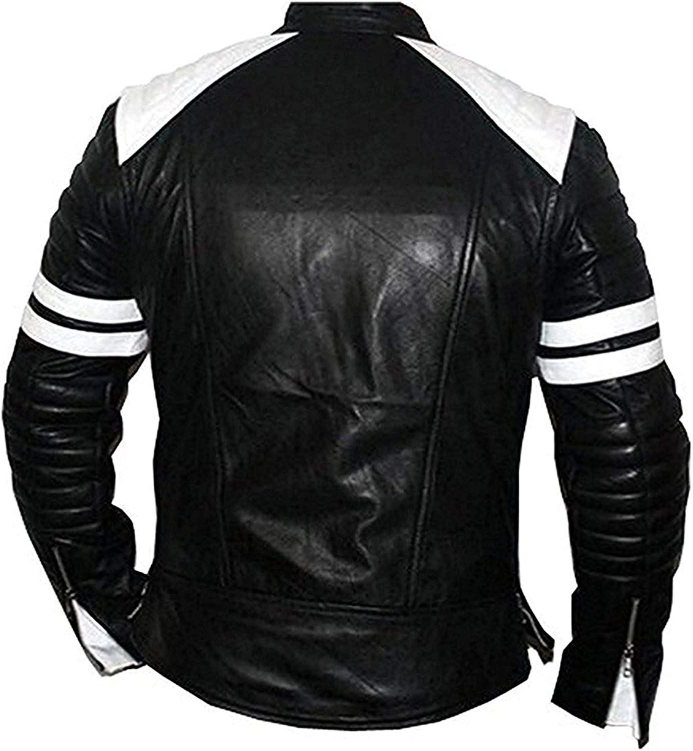 Zubacom Fight Club Brad Pitt White Strapes Black Leather Jacket Mens Leather Jacket