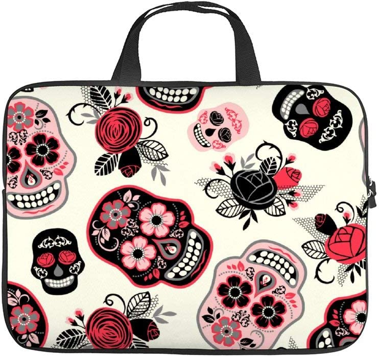 Laptop Sleeve 15.6 inch with Handle Water Repellent Neoprene Bag Protective Case Cover Compatible with MacBook Pro/Asus/Dell/HP/Sony/Acer - The Day of The Dead Sugar Skulls and Roses Pattern